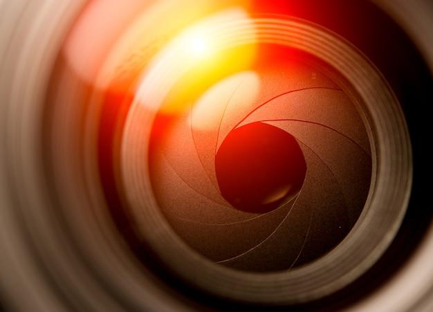 Aan de voorkant van de lens blootgestelde diafragmalamellen
