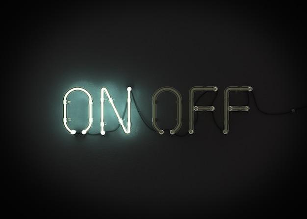 Aan en uit het teken van het neonlicht het 3d teruggeven