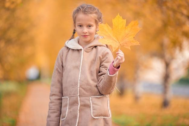 Aanbiddelijk meisje bij mooie de herfstdag in openlucht
