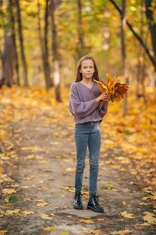 Aanbiddelijk meisje buiten op herfstdag in het park