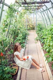Aanbiddelijk meisje het oogsten komkommers en tomaten in serre.