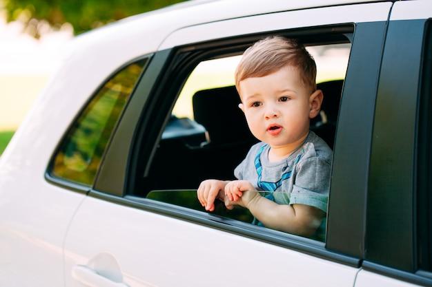 Aanbiddelijke babyjongen in de auto