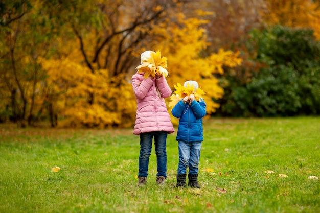 Aanbiddelijke meisje en jongen in openlucht bij mooie de herfstdag