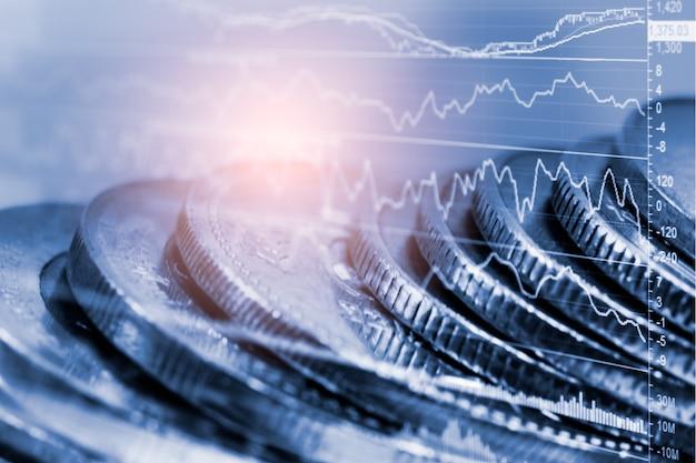 Aandelenmarkt of forex handelsgrafiek en kandelaargrafiek geschikt voor financieel investeringsconcept