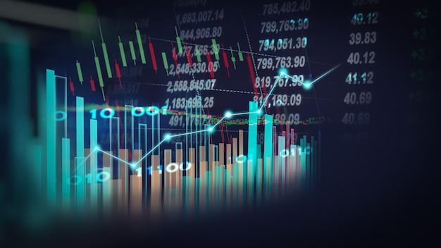 Aandelenmarkt of forex trading grafiek en kandelaargrafiek geschikt voor financieel investeringsconcept;