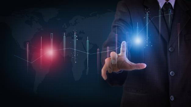 Aandelenmarkt of forex trading grafiek en kandelaargrafiek geschikt voor financieel investeringsconcept