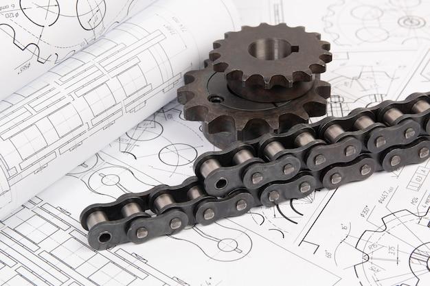 Aandrijving van industriële rollenketting en tandwiel op een printtechnische tekeningen