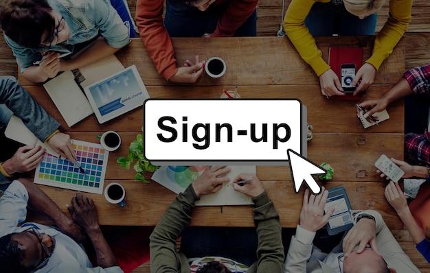Aanmelden registreren lid worden inloggen lid netwerkpagina gebruikersconcept
