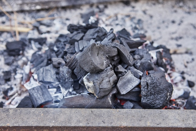 Aansteken van kolen in de barbecue. barbecue feest.