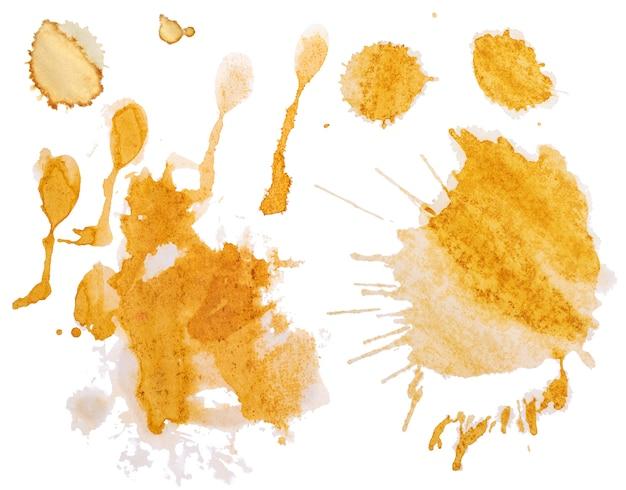 Aantal vlekken en spatten van gemorste koffie