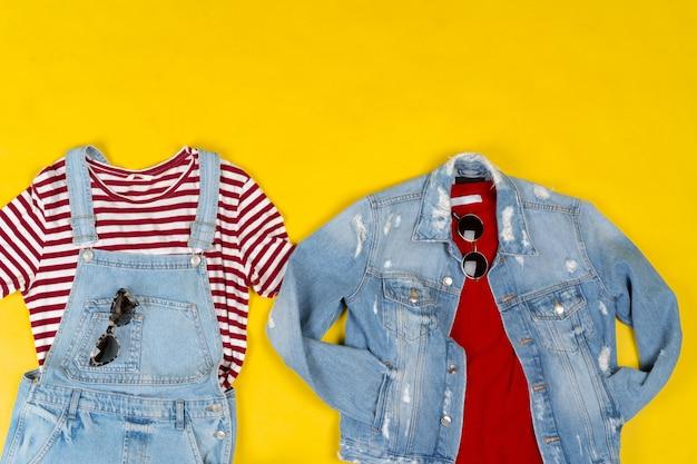 Aantal vrouwelijke kleding en accessoires op heldere gele achtergrond
