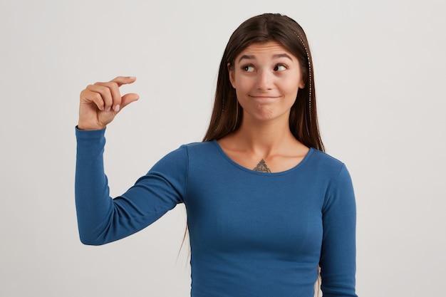 Aantrekkelijke dame, mooie vrouw met donker lang haar, gekleed in een blauwe trui
