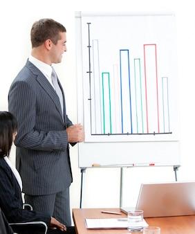 Aantrekkelijke jonge zakenman die een presentatie doet
