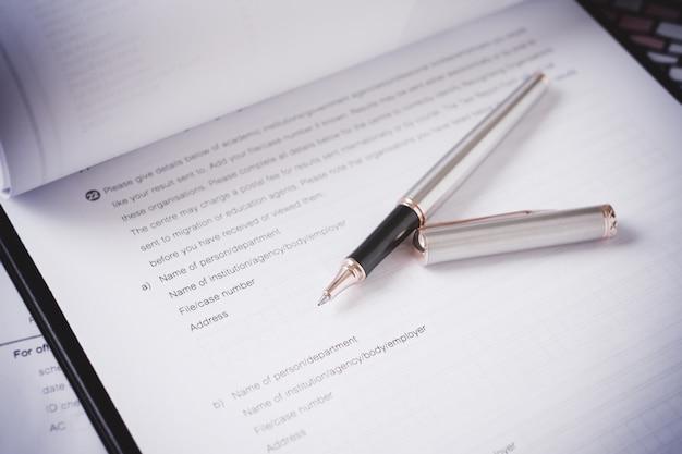 Aanvraagformulier concept voor het solliciteren naar een baan, financiën, lening, hypotheek of een claimformulier