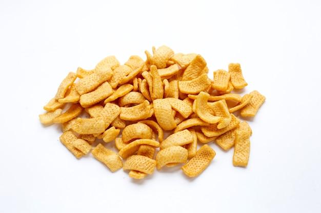 Aardappelchips, snack gecoat in karamel