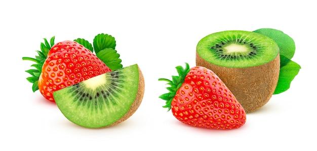 Aardbei en kiwifruit op witte achtergrond wordt geïsoleerd die