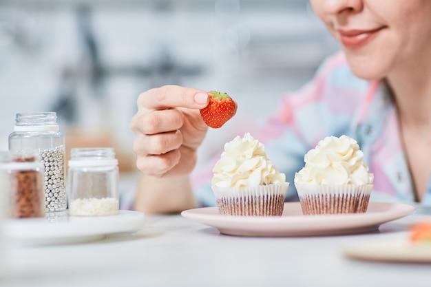 Aardbei voor cupcake