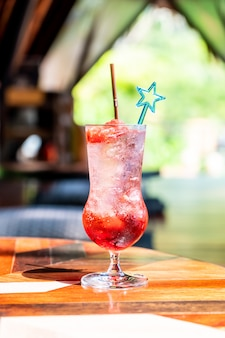 Aardbeien frisdrank in glas