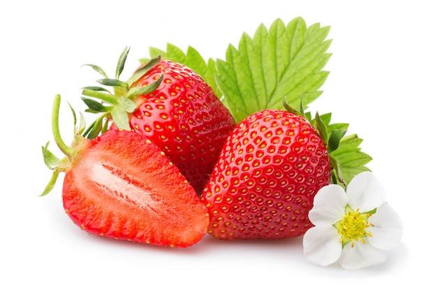 Aardbeien met bladeren en bloesem. geïsoleerd op een witte