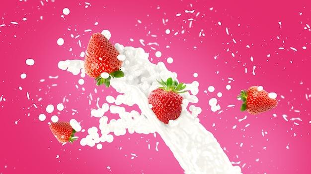 Aardbeien milkshake splash achtergrond