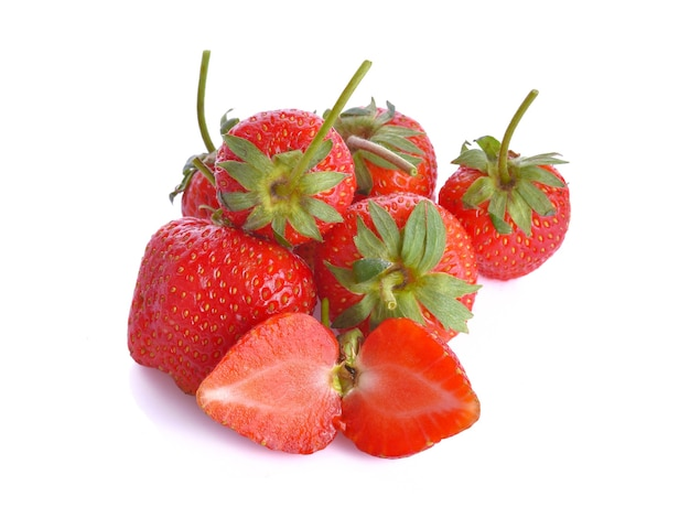 Aardbeien op witte ondergrond
