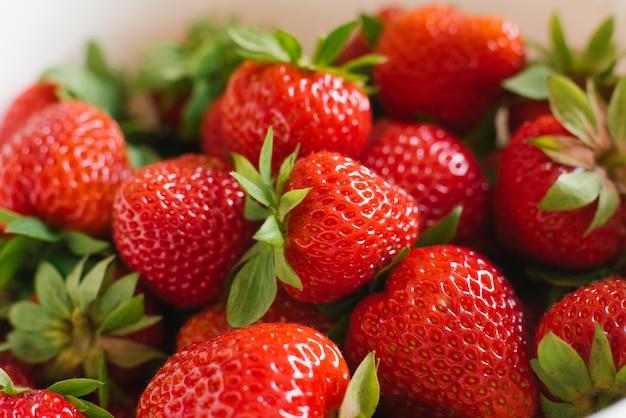 Aardbeienclose-up. achtergrond van bessen