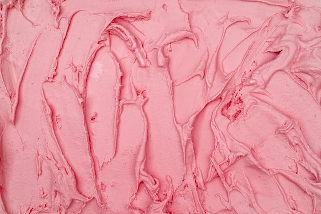 Aardbeienroomijs textuur. bovenaanzicht. heerlijke koele verwennerij.