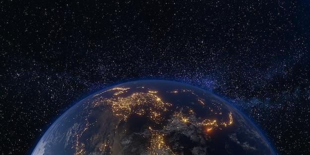 Aarde en ruimte melkweg melkweg achtergrond 3d illustratie