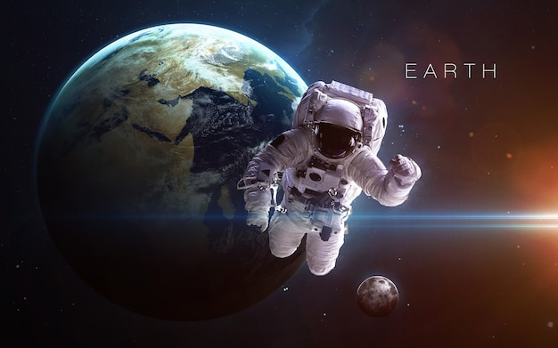 Aarde in de ruimte, 3d illustratie. .