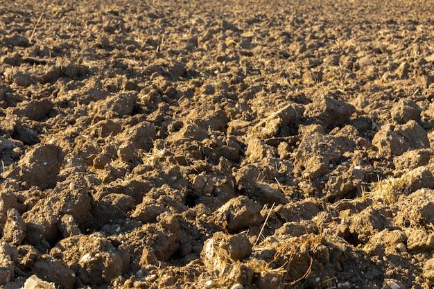 Aarde in een veld voor landbouwculturen