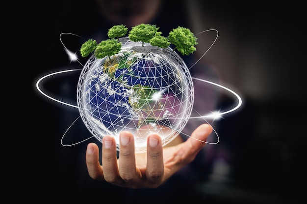 Aarde in handen - milieu concept - elementen van deze afbeelding ingericht door nasa - afbeelding
