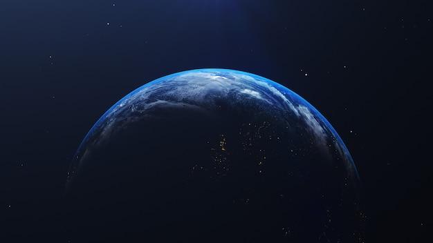 Aarde in ruimtemening met glanzende zonsopgang op universum en melkwegachtergrond. natuur en wereld milieu concept