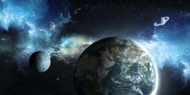 Aarde, maan en zon op de achtergrond van de ruimte in 3d illustratie