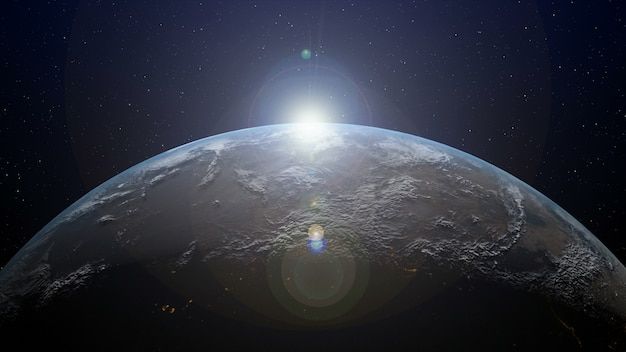 Aarde met zonsopgang aan de horizon
