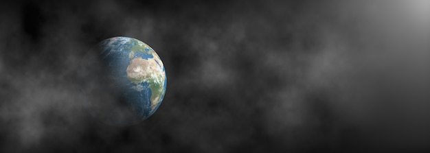 Aarde omgeven door rook op een donkere panoramische achtergrond.