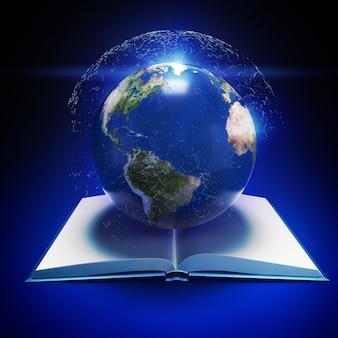 Aarde planeet en open boek