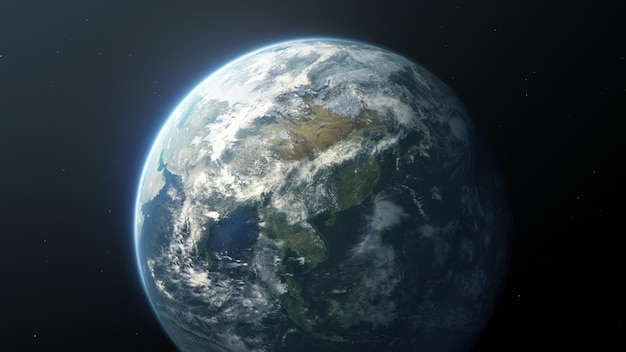 Aarde planeet gezien vanuit de ruimte
