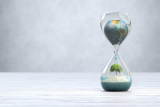 Aarde planeet in zandloper, opwarming van de aarde concept. 3d illustratie