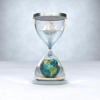 Aarde planeet in zandloper opwarming van de aarde concept