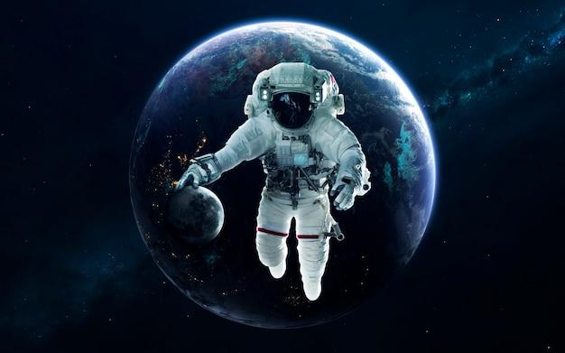 Aarde, prachtig sciencefictionbehang met eindeloze diepe ruimte. elementen van deze afbeelding geleverd door nasa