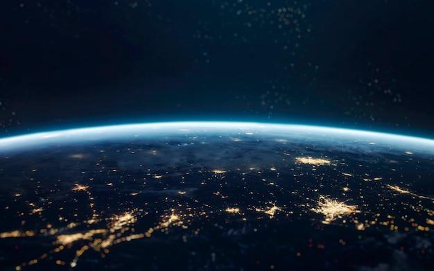 Aarde 's nachts, stadslichten vanuit een baan. elementen van deze afbeelding geleverd door nasa