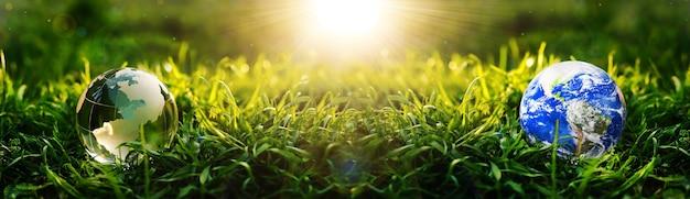 Aardeplaneet en kristalbol in gras op zonnige achtergrond sparen en beschermen aarde