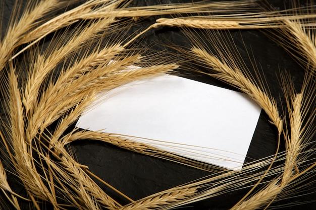 Aartjes van tarwe op een zwarte muur met een witte noot