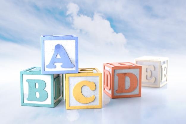 Abcde-blokken op wolkenachtergrond. 3d-rendering