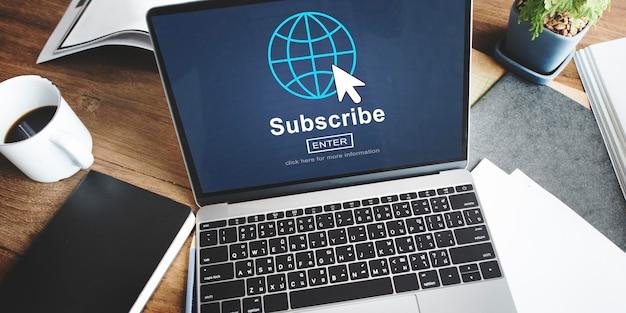 Abonneren feed registreren homepage netwerk concept