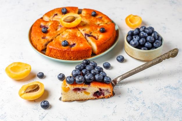 Abrikozen- en bosbessencake met verse bosbessen en abrikozenvruchten.