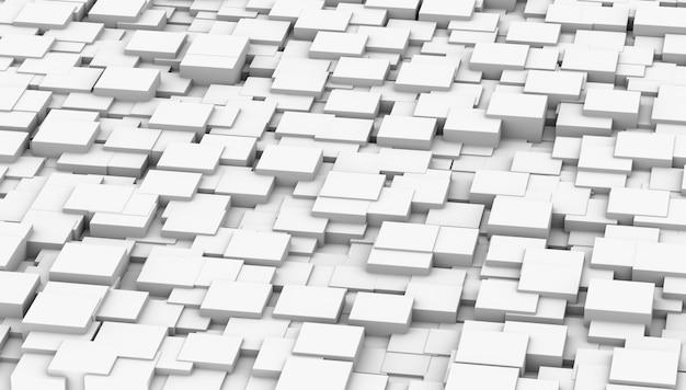 Abstact witte moderne architectuur achtergrond met witte blokjes op de muur. 3d rendering illustratie