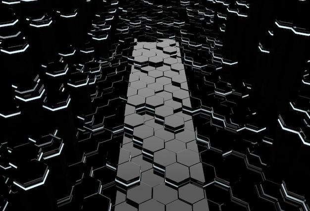 Abstract 3d-interieur met glanzende zeshoekige vloer en verhelderende kolommen