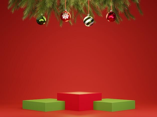 Abstract 3d rood groen geometrisch cirkelvoetstukpodium met kerstballen en boom