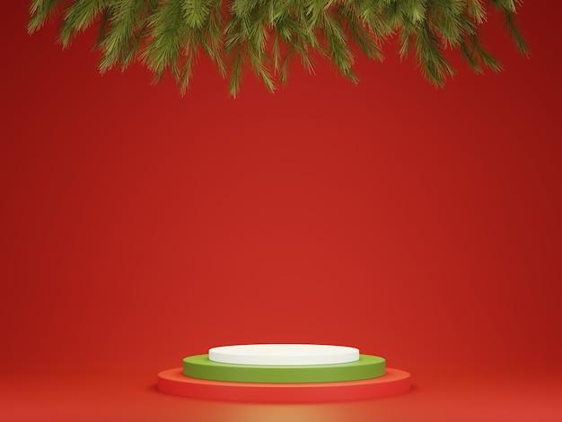 Abstract 3d rood groen geometrisch cirkelvoetstukpodium met kerstboom